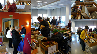 photo collage of OLLI at USM book sale