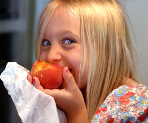 Eating a peach