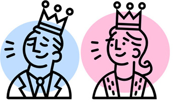 Illustration of a man and a woman, each wearing a crown
