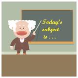 Illustration of teacher at blackboard