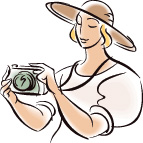 illustration of a woman with a camera around her neck