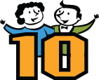 Illustration of two people and the number 10
