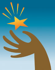 Illustration of a hand holding a shining star