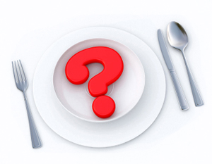 dinner plate with question mark