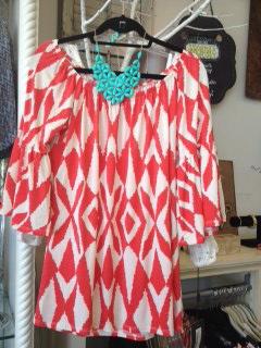 coral print top