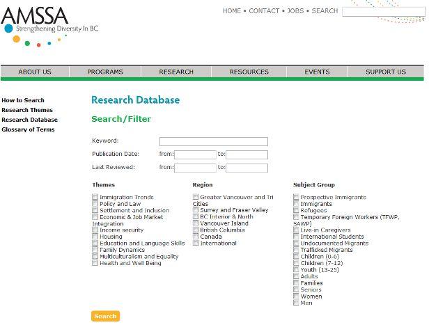 AMSSA Reserach Database