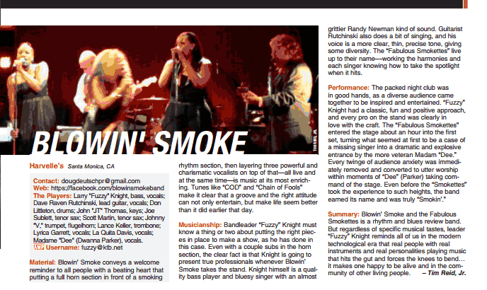 Bmans blues report dance til you drop next saturday at read a great live review on blowin smoke and the fabulous smokettes that just ran in the september issue of music connection here fandeluxe Gallery