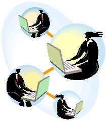 Graphic of professionals on laptops in bubbles with lines connecting them to one another.