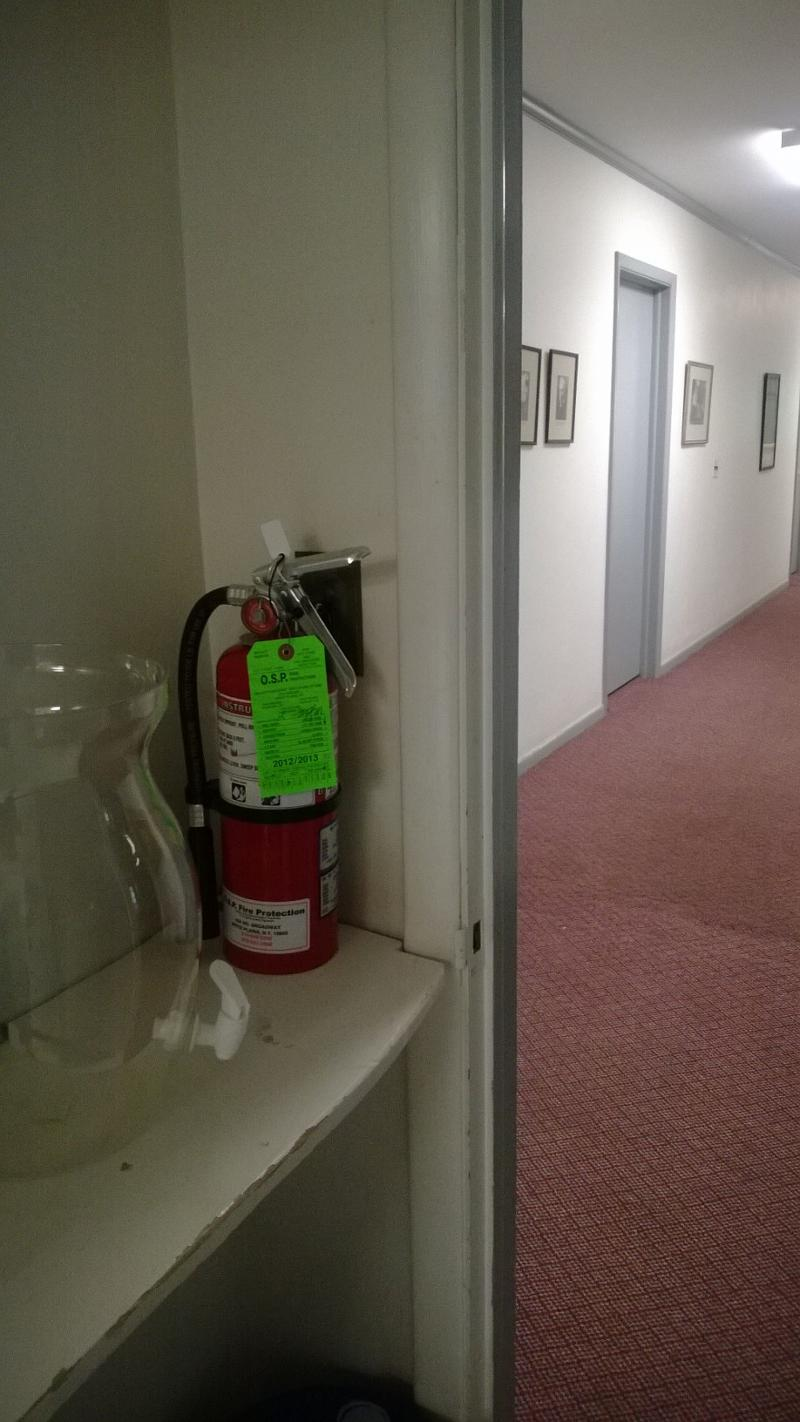 In The Parish Hall There Is A Fire Extinguisher In The Hallway