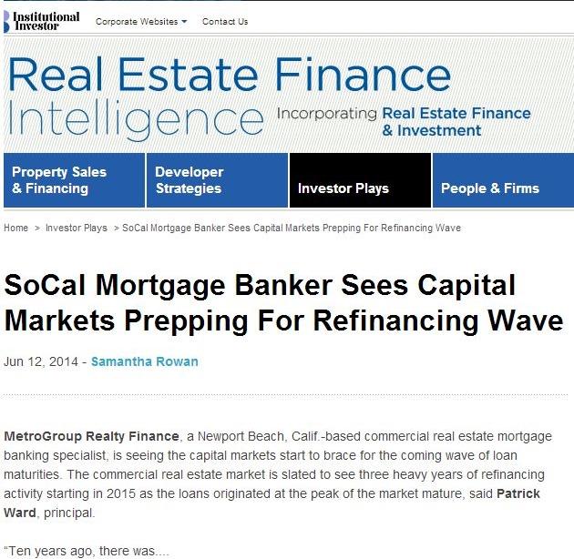 Real Estate Finance Intelligence News Article