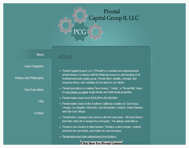 Pivotal Capital Group website - BEFORE