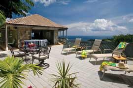 The deck at St. Thomas villa Rockworks