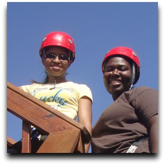 Luanda and Trenette at Tree Limin' Extreme