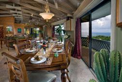 The dining area at Rockworks villa