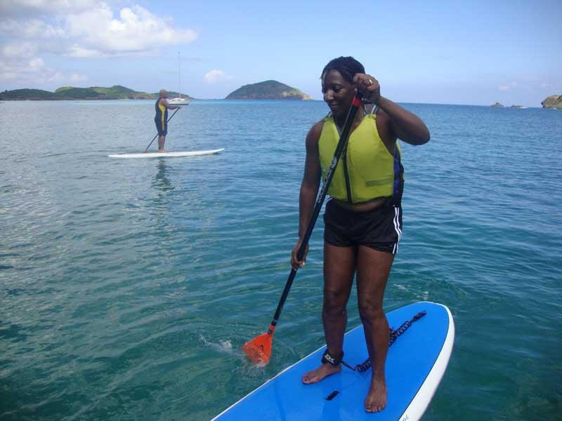 Angela masters the paddleboard in Hull Bay, St. Thomas