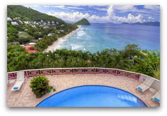 Pool and Long Bay view at Sunset House Tortola