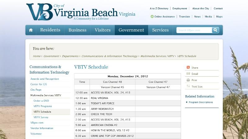 VBTV Schedual Screen Grab