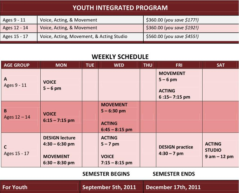 Youth class Schedule