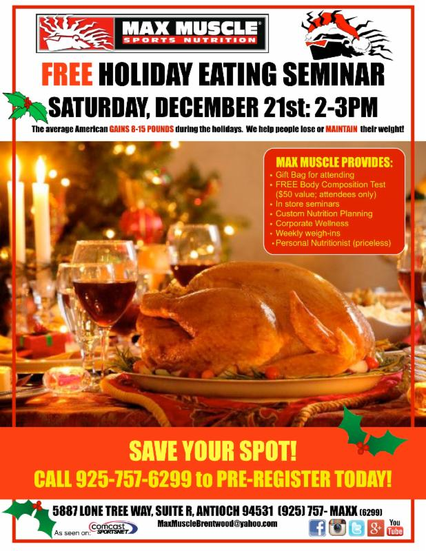 23 MaxMuscle to hold free holiday eating seminar Sat., Dec. 21