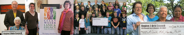 Photos of ACH Grantees with big checks