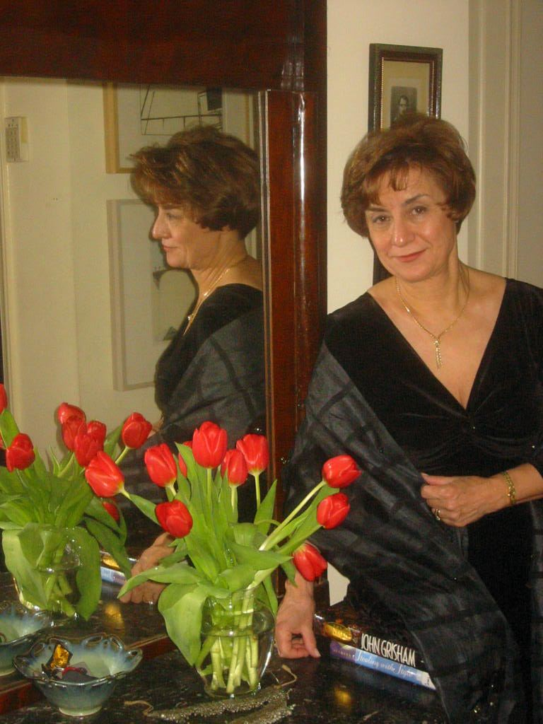 Alix with tulips