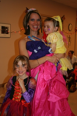 Mom and daughters as princesses