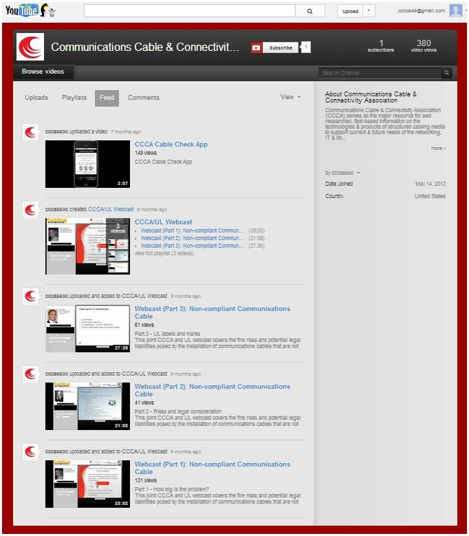 CCCA YouTube channel