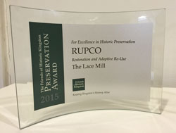 Friends of Historic Kingston Historic Preservation Award for Lace Mill