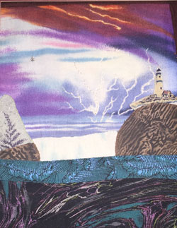 The LIghthouse_ Quilted fabric art by Prudence Nelmes