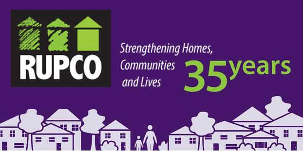 RUPCO 35th Anniversary logo purple background with white houses & people