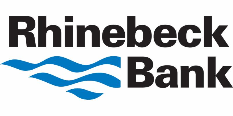 Rhinebeck Bank bloack and blue logo with blue waves