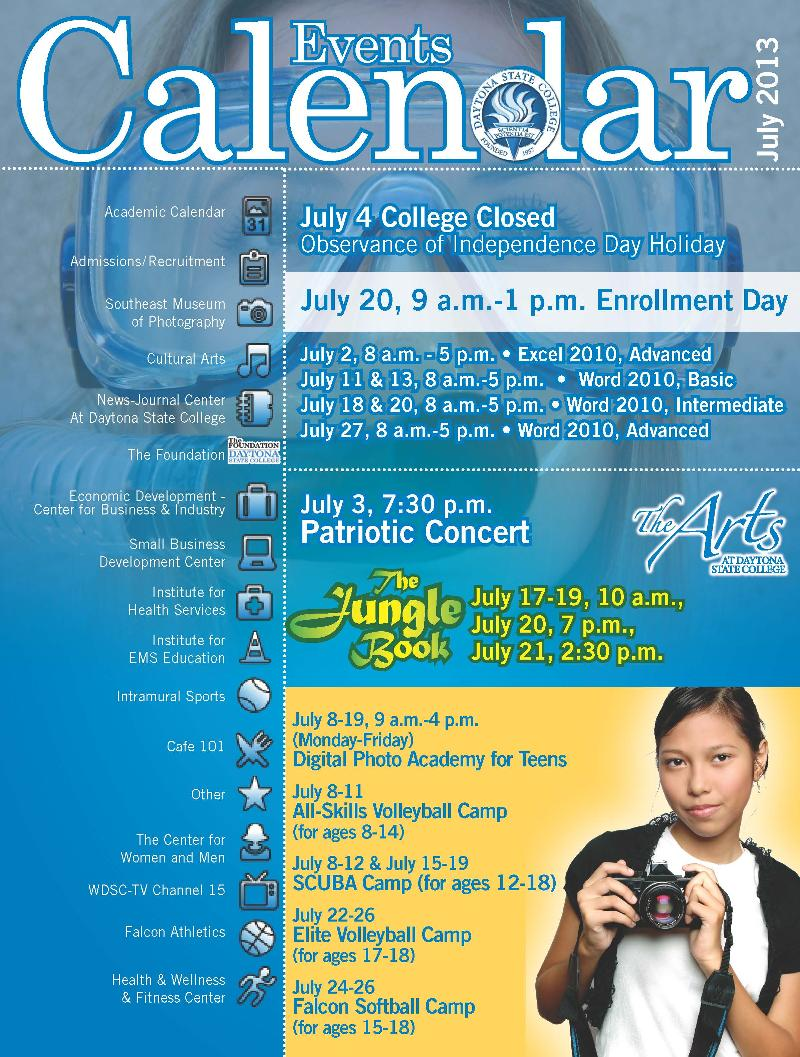 july 2013 calendar of events