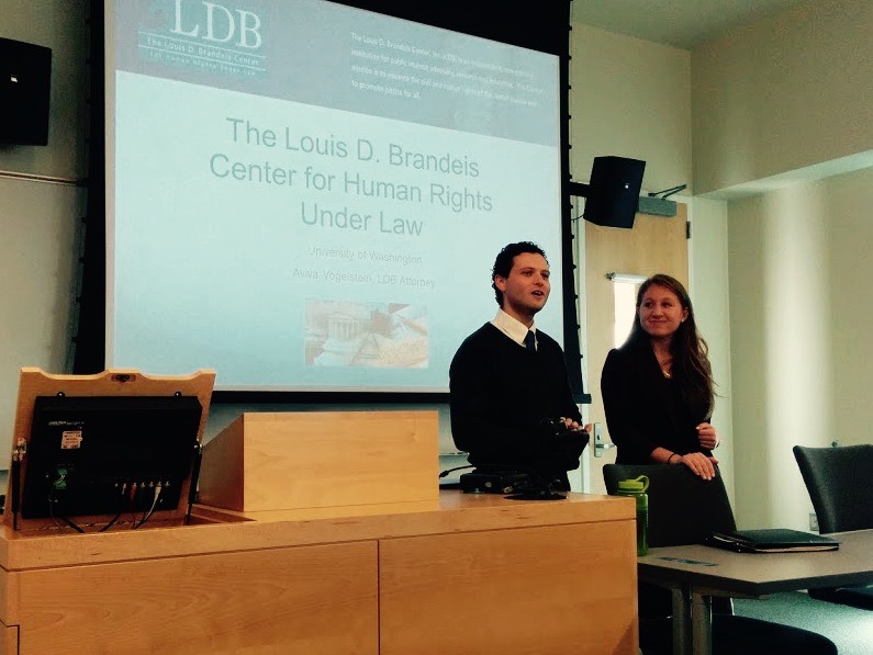 VP of the new LDB chapter_ Natan Tubman_ introduces LDB Staff Attorney Aviva Vogelstein