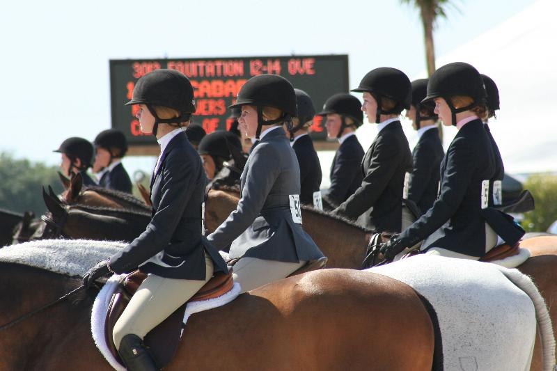 mounted riders lined up
