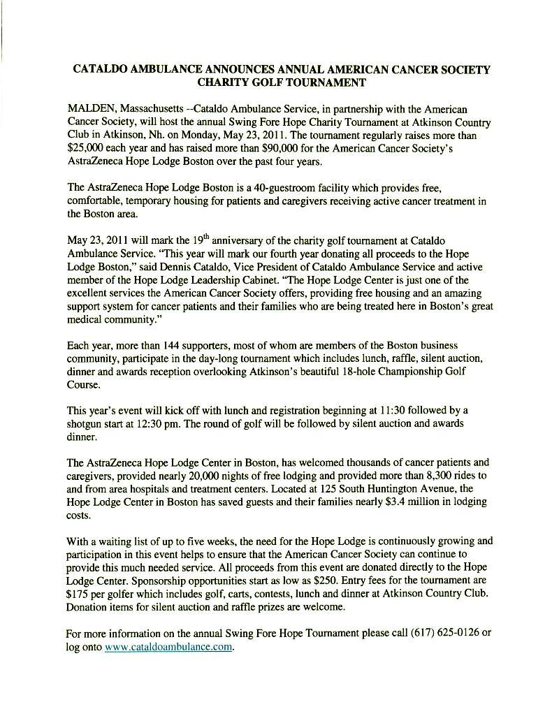 Cataldo Ambulance Charity Golf Announcement