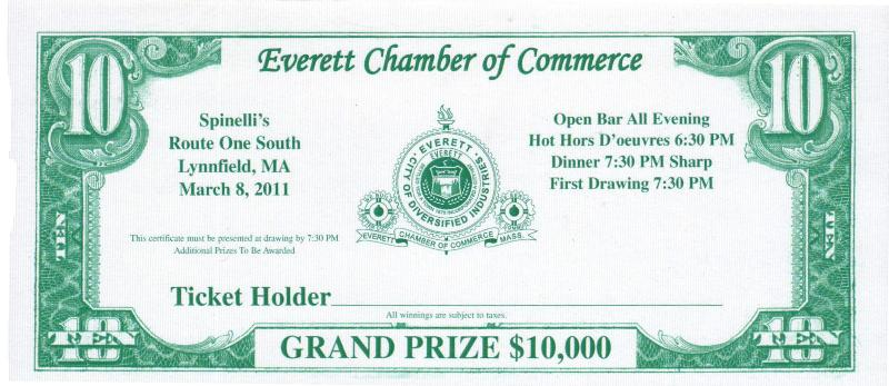 $10,000 Raffle Dinner Ticket for March 8th, 2011