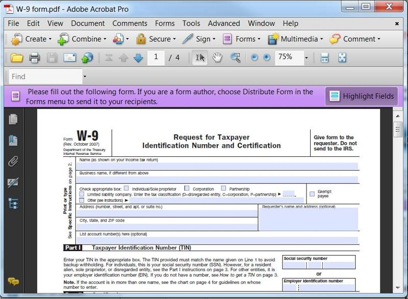 W-9 PDF Form