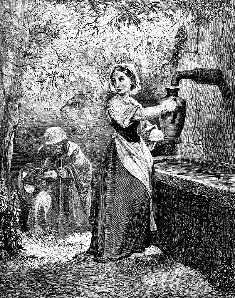 Fairy tale of woman at well