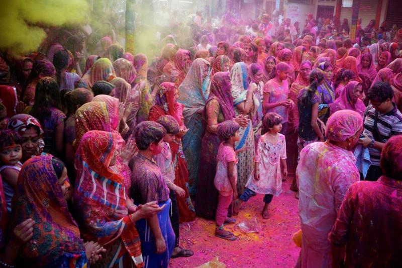 People dusted with color, Holi Festival