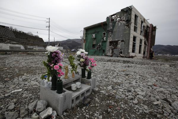 Cinderblock altar, post tsunami