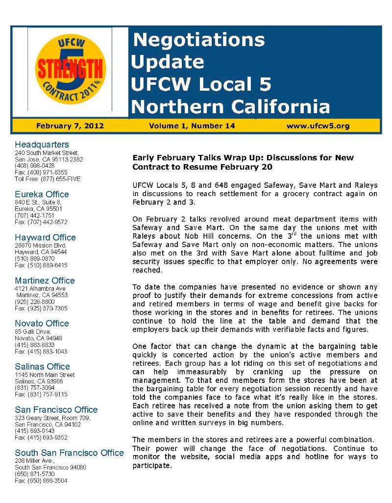 UFCW 5 Negotiations Update 14
