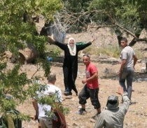 woman defending olive grove from torching by settlers