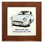 Framed Tile Figaro Pale Aqua with Strap Line