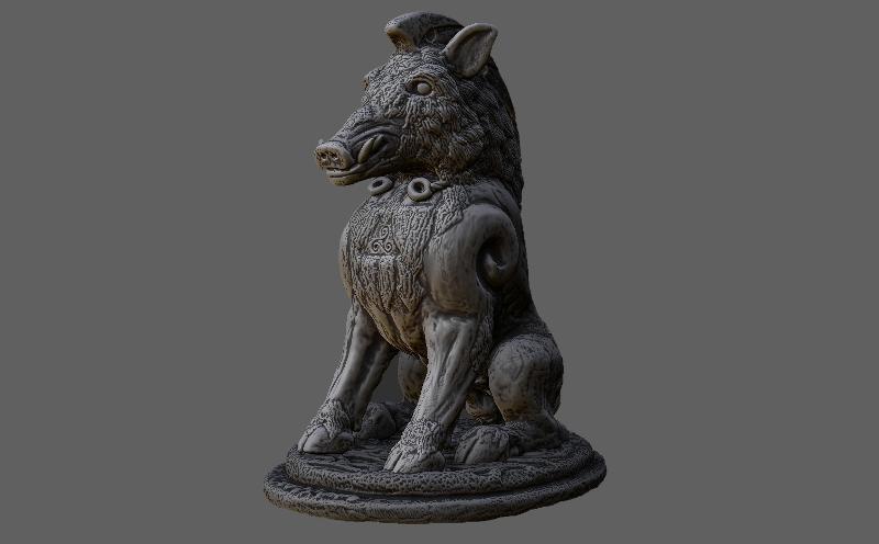 3d scanned boar sculpture