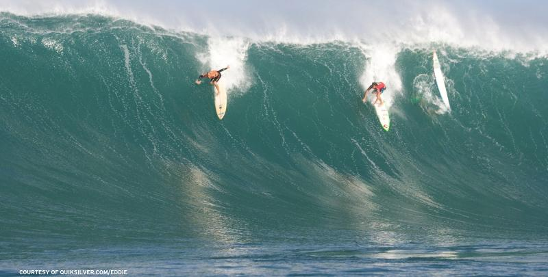 Three surfers tackle the giant that is Waimea.