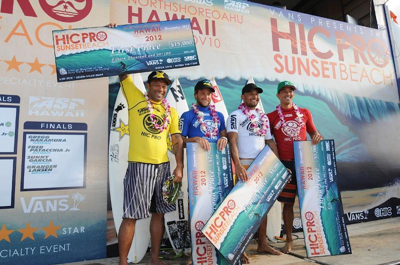Sunny Garcia (yellow) and finalists of the HIC PRO. Photo: Bernie Baker