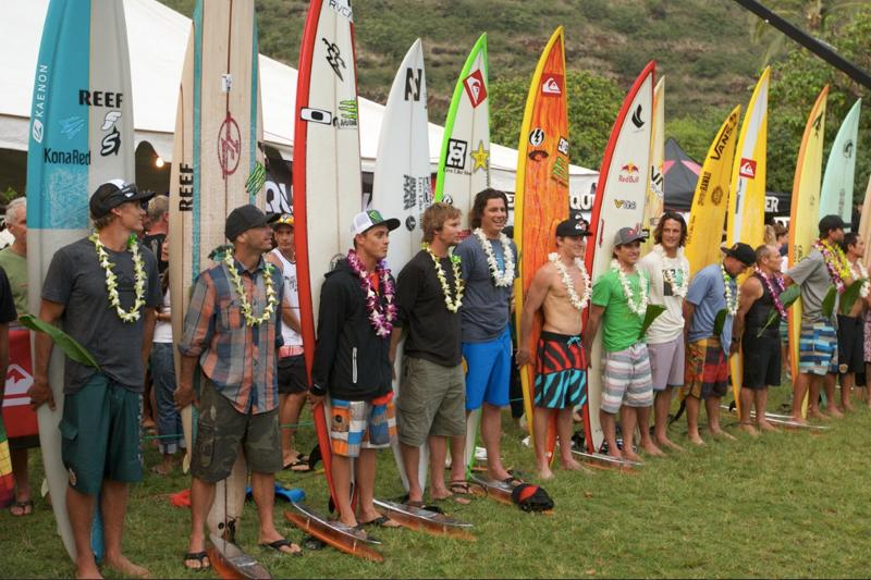 Surfers receive the blessing before paddling out. Photo: Quiksilver/Coots