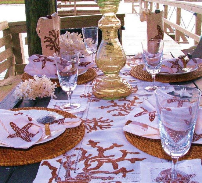Brown Starfish and Coral Table Linens