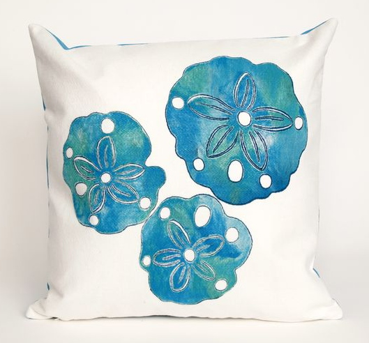 Liora Manne Blue Sand Dollar Pillow
