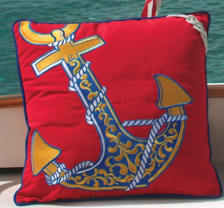 Red Sunbrella Anchor Pillow